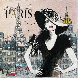Square Jacquard fabric - pink Love Paris