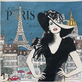Square Jacquard fabric - Blue Love Paris