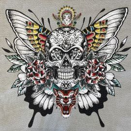Square Jacquard fabric - Grey Skull Soul