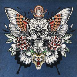 Square Jacquard fabric - Blue Skull Soul