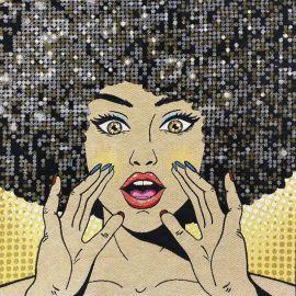 Square Jacquard fabric - Yellow Disco Queen