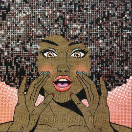 Square Jacquard fabric - Pink Disco Queen