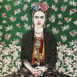 Square Jacquard fabric - Green Frida Kahlo