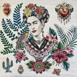 Square Jacquard fabric - Green Alma de Frida