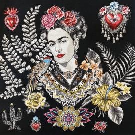 Square Jacquard fabric - white Alma de Frida