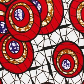 Tissu Wax Hinna - rouge x 10cm