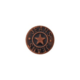 Star jeans button - dark vintage copper