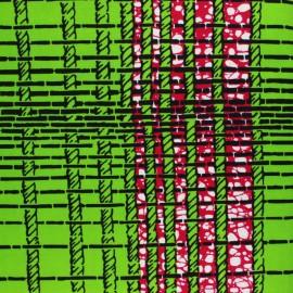 Wax print fabric - green Shengo x 10cm