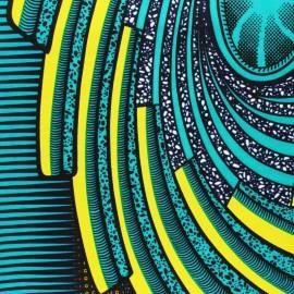 Tissu Wax Shengo - vert x 10cm