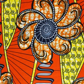 Wax print fabric - Orange Luawa x 10cm