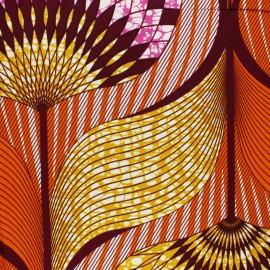 Tissu Wax Luawa - orange x 10cm