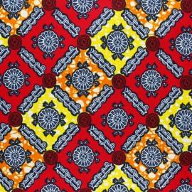 Wax print fabric - red Tatema x 10cm