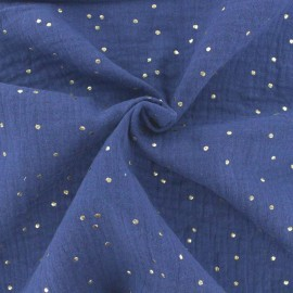 Double cotton gauze fabric - Indigo Golden Dots x 10cm