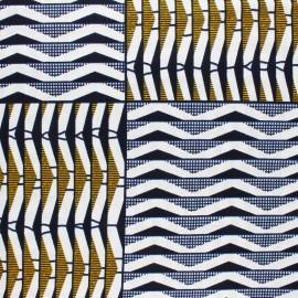 Tissu Wax Bérika - blanc x 10cm