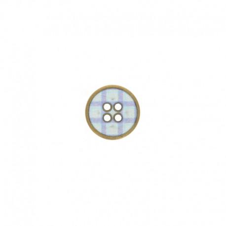Bouton métal carreaux - bleu