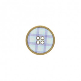 Metal Carreaux button - Blue