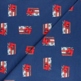 Tissu jersey Camion de pompiers - bleu x 10cm