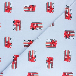 Cotton jersey fabric - blue Fireman truck x 10cm