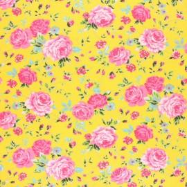 Tissu jersey fleuri Naelle - jaune x 10cm