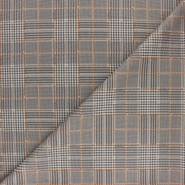 ♥ Coupon 120 cm X 145 cm ♥ Checked Milano jersey fabric - Ochre Prince Of Wales