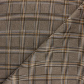 Checked Milano jersey fabric - Ochre Prince Of Wales x 10cm