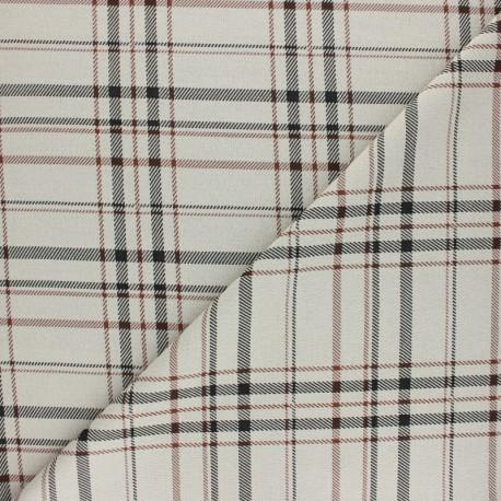 Tissu crêpe élasthanne à carreaux Andrew - beige x 10cm