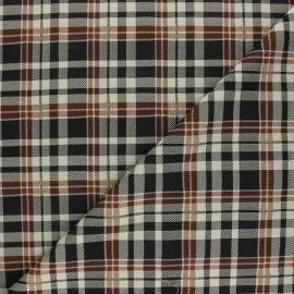 Tissu crêpe élasthanne à carreaux James - marron x 10cm