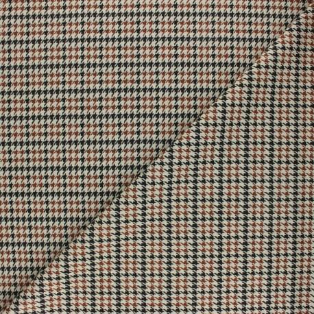 Tissu crêpe élasthanne à carreaux John - beige x 10cm