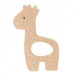 Anneau de dentition bois naturel - girafe