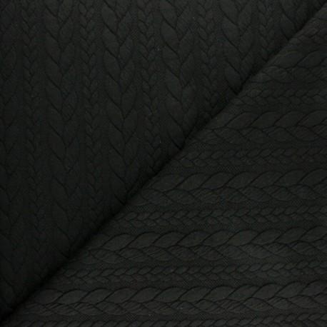 Tissu jersey Torsade - Noir x 10cm