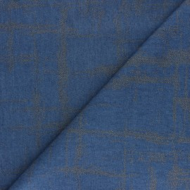 Tissu coton Chambray floqué Etoile - bleu jean x 10cm