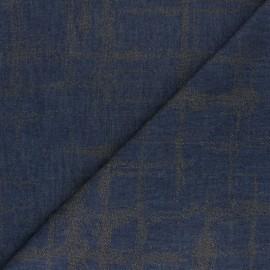 Tissu coton Chambray floqué Arty - bleu denim x 10cm
