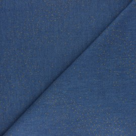 Flocked Light Chambray denim fabric - Blue Arty x 10cm