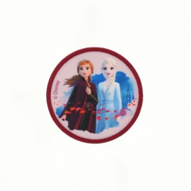"Canvas round-shaped Iron-on patch ""Frozen"" - Princesses Anna & Elsa"