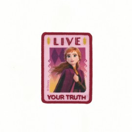 "Canvas rectangular-shaped Iron-on patch ""Frozen"" - ""Live your truth"""
