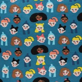 Sweatshirt fabric with minkee - blue Women of the world x 10cm