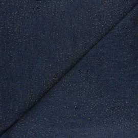 Tissu coton Chambray floqué Confetti - bleu denim x 10cm