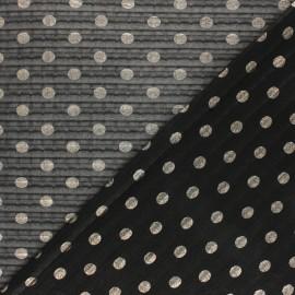 Tissu polyester plissé éclat de lune - noir x 50cm