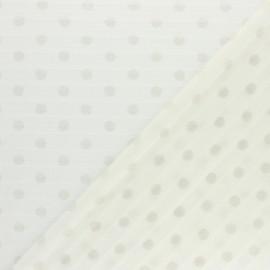 ♥ Coupon 300 cm X 140 cm ♥ polyester plissé éclat de lune - écru