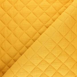 Tissu double gaze matelassé Réversible - moutarde x 10cm