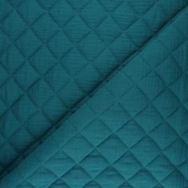 Tissu double gaze matelassé Réversible - vert paon x 10cm