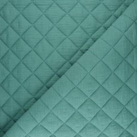 Tissu double gaze matelassé Réversible - noir x 10cm
