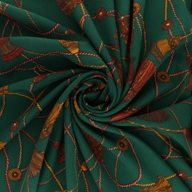 Printed Crepe fabric - Emerald green Giovanni x 10cm