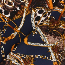 Twill viscose fabric - Navy Fiorenzo x 10 cm
