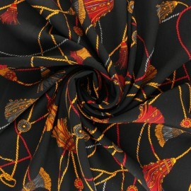 Printed Crepe fabric - Black Giovanni x 10cm
