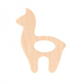 Natural wood teething ring - llama