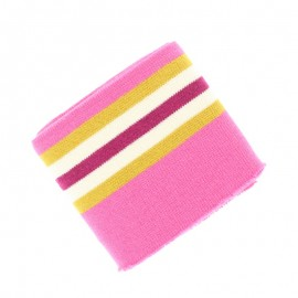 Striped Edging College Fabric (140x7cm) - Pink
