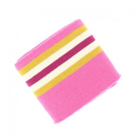 Striped Edging College Fabric (140x7cm) - Pink