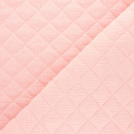 Quilted double gauze cotton fabric - Blush pink x 10cm