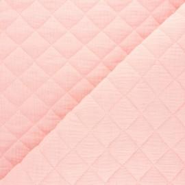 Tissu double gaze matelassé Réversible - Blush x 10cm